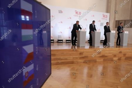 (L-R) Hungarian Prime Minister Victor Orban, Polish PM Mateusz Morawiecki, Czech PM Andrej Babis and Slovak PM Igor Matovic during the Visegrad Group prime ministers meeting at the Chancellery of the Prime Minister in Warsaw, Poland, 03 July 2020. Poland's presidency of the Visegrad Group will be inaugurated by V4 country prime ministers at their summit meeting in Warsaw on 03 July.