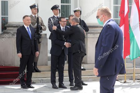 (L-R) Polish President Andrzej Duda, Polish Prime Minister Mateusz Morawiecki, Slovak PM Igor Matovic and Hungarian PM Victor Orban during official welcome ceremony at the Belvedere Palace before the Visegrad Group prime ministers meeting in Warsaw, Poland, 03 July 2020. Poland's presidency of the Visegrad Group will be inaugurated by V4 country prime ministers at their summit meeting in Warsaw on 03 July.