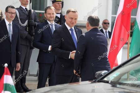 (L-R) Polish Prime Minister Mateusz Morawiecki, Slovak PM Igor Matovic, Polish President Andrzej Duda and Hungarian PM Victor Orban during official welcome ceremony at the Belvedere Palace before the Visegrad Group prime ministers meeting in Warsaw, Poland, 03 July 2020. Poland's presidency of the Visegrad Group will be inaugurated by V4 country prime ministers at their summit meeting in Warsaw on 03 July.