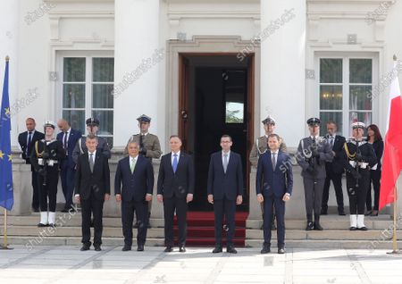 (L-R) Czech Prime Minister Andrej Babis, Hungarian PM Victor Orban, Polish President Andrzej Duda, Polish PM Mateusz Morawiecki and Slovak PM Igor Matovic during official welcome ceremony at the Belvedere Palace before the Visegrad Group prime ministers meeting in Warsaw, Poland, 03 July 2020. Poland's presidency of the Visegrad Group will be inaugurated by V4 country prime ministers at their summit meeting in Warsaw on 03 July.
