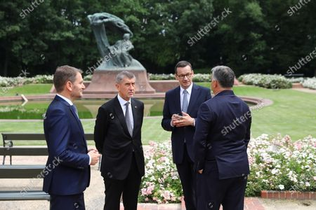 (L-R) Slovak Prime Minister Igor Matovic, Czech PM Andrej Babis, Polish PM Mateusz Morawiecki and Hungarian PM Victor Orban walk at the Lazienki Park (Royal Baths Park) during the Visegrad Group prime ministers meeting in Warsaw, Poland, 03 July 2020. Poland's presidency of the Visegrad Group will be inaugurated by V4 country prime ministers at their summit meeting in Warsaw on 03 July.
