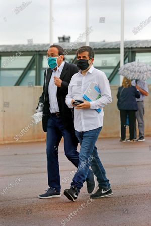 Former Catalan regional Minister Josep Rull (L) and pro-independence leader Jordi Sanchez (R) leave Lledoners prison in Barcelona, Spain, 03 July 2020, to volunteer a day after authorities of the Catalan prisons unanimous proposed to grant an open prison regime to the nine imprisoned pro-independent leaders allowing them to leave during day time while bounded to sleep in prison. Catalan pro-independent leaders where condemned accused of sedition and, in some cases, embezzlement in relation to the illegal pro-independence referendum held 01 October 2017.