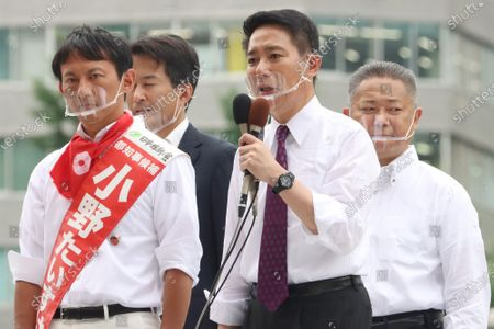 Former Democratic Party leader Seiji Maehara (R) delivers a campaign speech for a candidate Taisuke Ono, former Kumamoto prefecture vice Governor for the Tokyo gubernatorial election in Tokyo on Friday, July 3, 2020. Tokyo gubernatorial election will be held on July 5.