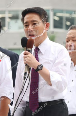 Former Democratic Party leader Seiji Maehara delivers a campaign speech for a candidate Taisuke Ono, former Kumamoto prefecture vice Governor for the Tokyo gubernatorial election in Tokyo on Friday, July 3, 2020. Tokyo gubernatorial election will be held on July 5.