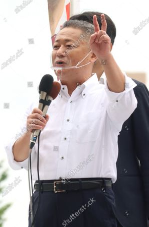 Japan Restoration Party Secretary General Nobuyuki Baba delivers a campaign speech for a candidate Taisuke Ono, former Kumamoto prefecture vice Governor for the Tokyo gubernatorial election in Tokyo on Friday, July 3, 2020. Tokyo gubernatorial election will be held on July 5.