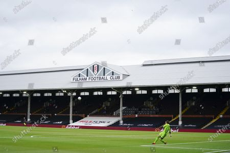 Goalkeeper Lee Camp of Birmingham City clears upfield at an empty Craven Cottage