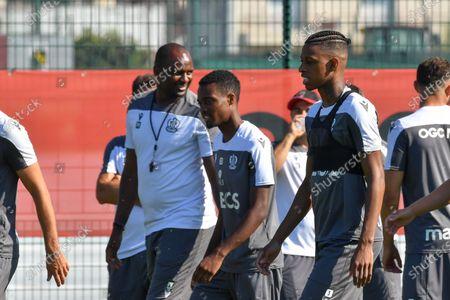 Robson Bambu, Patrick Vieira (entraineur de l OGC Nice) - Nice' players during a training session of French soccer club OGC Nice