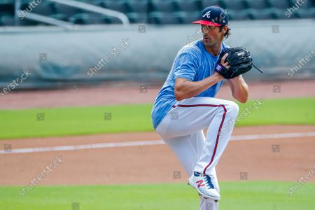 Atlanta Braves pitcher Cole Hamels during summer camp workouts before the expected start of the coronavirus COVID-19 shortened MLB baseball season at Truist Park in Atlanta, Georgia, USA, 03 July 2020. A 60-game regular season schedule is planned to begin in late July.