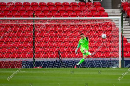 Bet365 Stadium, Stoke, Staffordshire, England; Goalkeeper Jack Butland of Stoke City clears the ball up the pitch; English Championship Football, Stoke City versus Barnsley.