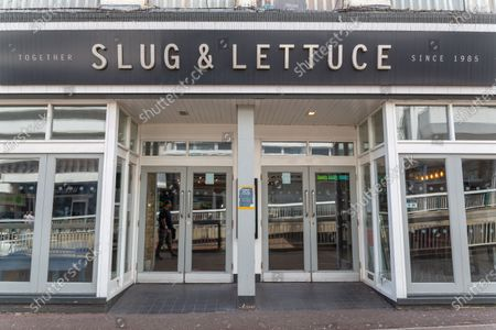 Stock Image of The Slug and Lettuce preparing for opening on the 4th July.