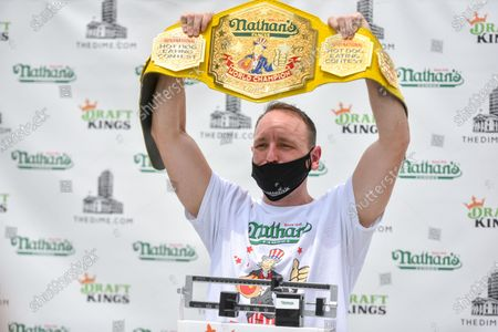 World-champion Joey Chestnut, the #1-ranked eater in the world,  officially weighed in and certified for the Fourth of July hot dog-eating contest at the Dime Residences in New York.