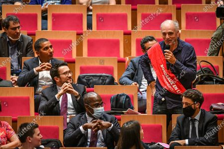 Stock Image of Bordeaux en lutte elected member Philippe Poutou delivers a speech during a session of Bordeaux city council in Bordeaux on July 3, 2020 before Hurmic's official election as new mayor of Bordeaux, five days after the second round of the mayoral elections in France.