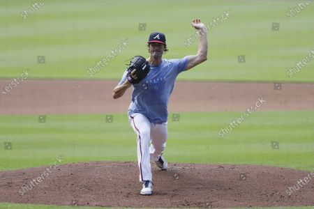 Atlanta Braves' pitcher Cole Hamels works out during team practice at Truist Park, in Atlanta