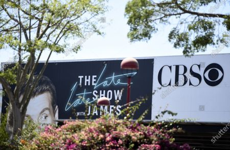 "Stock Picture of An advertisement for ""The Late Late Show with James Corden"" sits near the entrance to the CBS Television City studios, in Los Angeles"