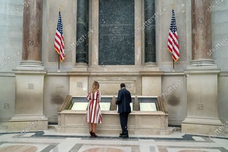 Stock Image of First Lady Melania Trump participates in a visit to the National Archives Museum with Housing and Urban Development Secretary Dr. Ben Carson, the National Archives Museum Archivist David Ferriero, and Special Assistant to the Archivist Maureen MacDonald