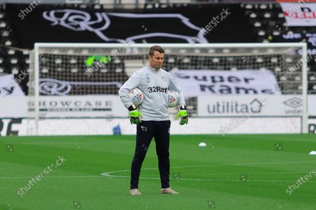 Derby County goalkeeper coach Shay Given during the EFL Sky Bet Championship match between Derby County and Nottingham Forest at the Pride Park, Derby