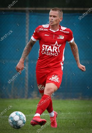 Oostende's Ari Skulason pictured in action during a friendly game between Varsenare and first league team KV Oostende, Saturday 04 July 2020 in Varsenare, in preparation of the upcoming 2020-2021 Jupiler Pro League season.