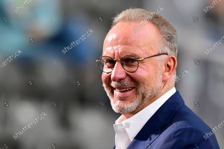 Bayern Munich CEO Karl-Heinz Rummenigge prior to the German DFB Cup final soccer match between Bayer Leverkusen and Bayern Munich in Berlin, Germany, 04 July 2020.