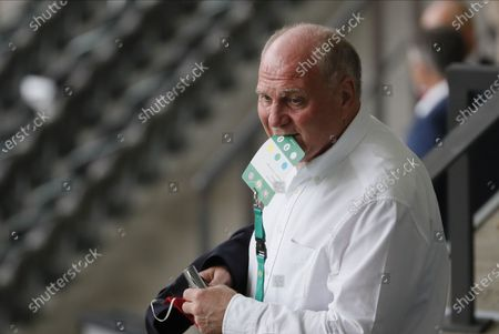 Bayern's former president Uli Hoeness prior to the German DFB Cup final soccer match between Bayer Leverkusen and Bayern Munich in Berlin, Germany, 04 July 2020.