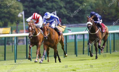 Stock Image of Love Powerful and Sean Levey win the Price Promise at bet365 Fillies Handicap at Haydock from Magical Journey.