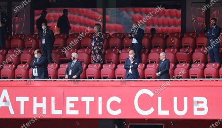 Real Madrid's President, Florentino Perez (R, front), and Athletic Bilbao's President, Aitor Elizegi (L, front) during the Spanish LaLiga soccer match between Athletic Bilbao and Real Madrid at San Mames Stadium, in Bilbao, Basque Country, northern Spain, 05 July 2020.