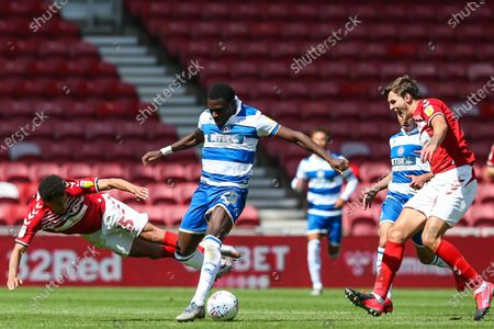 Middlesbrough midfielder Ravel Morrison (15) and Queens Park Rangers midfielder Bright Osayi-Samuel (20) during the EFL Sky Bet Championship match between Middlesbrough and Queens Park Rangers at the Riverside Stadium, Middlesbrough