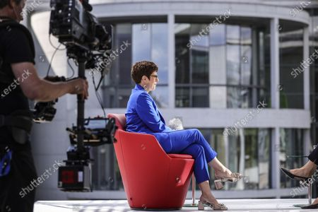 Annegret Kramp-Karrenbauer, German Defence Minister and chairwoman of the Christian Democratic Union (CDU) party, speaks with German journalist Tina Hassel during the traditional summer interview of the television show 'Report from Berlin' of German station ARD, in Berlin, Germany, 05 July, 2020.