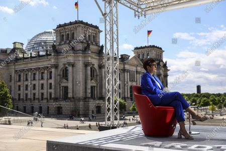 Annegret Kramp-Karrenbauer, German Defence Minister and chairwoman of the Christian Democratic Union (CDU) party, speaks with German journalist Tina Hassel during the traditional summer interview of the television show 'Report from Berlin' of German station ARD, in Berlin, Germany, 05 July 2020.