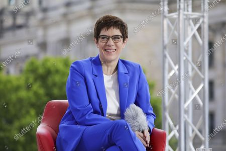 Stock Photo of Annegret Kramp-Karrenbauer, German Defence Minister and chairwoman of the Christian Democratic Union (CDU) party, speaks with German journalist Tina Hassel during the traditional summer interview of the television show 'Report from Berlin' of German station ARD, in Berlin, Germany, 05 July 2020.