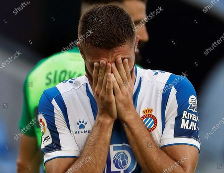 Espanyol's David Lopez reacts during the Spanish La Liga soccer match between RCD Espanyol and CD Leganes at RCDE Stadium in Barcelona, north-eastern Spain, 05 July 2020.