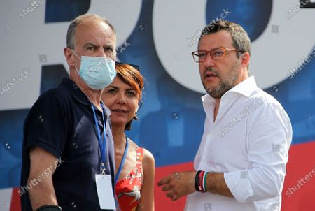 """Demonstration of the center-right """"Together for Italy of Labor"""" in protest to the measures of the Conte government. Pictured: Roberto Calderoli, Matteo Salvini"""