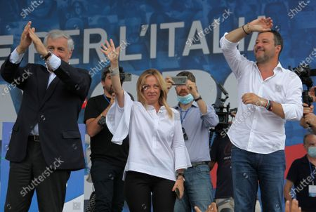"""Demonstration of the center-right """"Together for Italy of Labor"""" in protest to the measures of the Conte government. Pictured: Antonio Tajani, Giorgia Meloni, Matteo Salvini"""