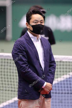 Stock Image of Yuki Ota - Tennis : BEAT COVID-19 OPEN Men's Singles Award Ceremony at Bourbon Beans Dome, Hyogo, Japan.