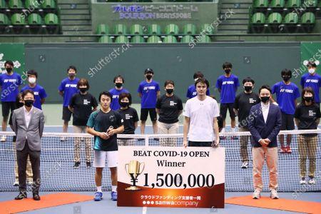 (L-R)  Yuta Shimizu,  Taro Daniel,  Yuki Ota - Tennis : BEAT COVID-19 OPEN Men's Singles Award Ceremony at Bourbon Beans Dome, Hyogo, Japan.