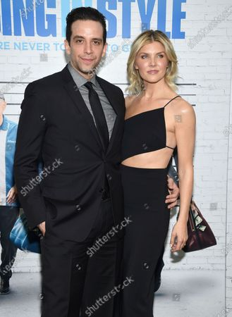 """Actor Nick Cordero, left, and Amanda Kloots attend the premiere of """"Going in Style"""" in New York. Tony Award-nominated actor Cordero, who specialized in playing tough guys on Broadway in such shows as """"Waitress,"""" """"A Bronx Tale"""" and """"Bullets Over Broadway,"""" has died in Los Angeles after suffering severe medical complications after contracting the coronavirus. He was 41. Cordero died, at Cedars-Sinai hospital after more than 90 days in the hospital, according to his wife, Amanda Kloots"""