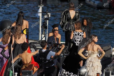 """Designer Olivier Rousteing is seen during the """"Balmain"""" sur seine"""" Fashion show that was held on a """"peniche"""" Parisian boat on the seine river to celebrate the 75th anniversary of the brand during the Couture Paris fashion week on July 05, 2020 in Paris, France."""