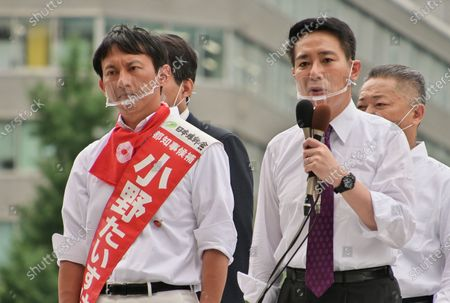 Member of the House of Representatives Seiji Maehara delivers a speech for candidate, Taisuke Ono, former Kumamoto prefecture vice Governor during the Tokyo gubernatorial election campaign near Shinjuku station in Tokyo, Japan.