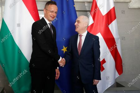 Georgian Foreign Minister David Zalkaliani (R) shake hands with Hungarian Minister of Foreign Affairs Peter Szijjarto (L) in Tbilisi, Georgia, 06 July 2020. Peter Szijjarto is on an official visit to Georgia.