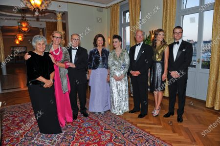 Composer Ennio Morricone has died at the age of 91, on July 06, 2020., Original caption: Maria Travia, Marie Ledin, Ennio Morricone, Queen Silvia, Bjork, King Carl XVI Gustaf, Crown Princess Victoria and Prince Daniel at the Polar Music Prize banquet at Grand Hotel in Stockholm, Sweden, August 30, 2010.