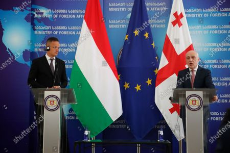 Georgian Foreign Minister David Zalkaliani (R) and his Hungarian counterpart Peter Szijjarto (L) attend a joint press conference in Tbilisi, Georgia, 06 July 2020. Peter Szijjarto  is on an official visit to Georgia.