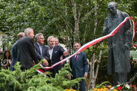 Wladyslaw Teofil Bartoszewski (L), Bronislaw Komorowski (C) and Aleksander Kwasniewski (R) attends the unveiling of the monument to Wladyslaw Bartoszewski in Sopot. Wladyslaw Bartoszewski was a Polish historian, publicist, journalist, writer, social activist, politician and diplomat. Auschwitz prisoner, Home Army officer, activist of the Polish Underground State, participant in the Warsaw Uprising.