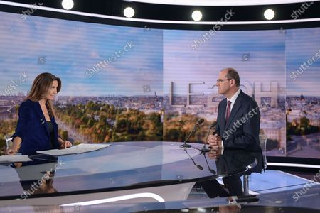 French Prime Minister Jean Castex, appointed by French President Emmanuel Macron today, in place of Edouard Philippe, gave his first interview to news of 20Heures on TF1 television, presented by Anne-Claire Coudray, on July 3, 2020 in Paris