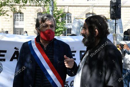 David Assouline and Marek Halter protest in memory of Georges Floyd