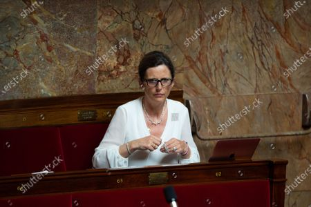 French deputy Emmanuelle Menard during the debate at the french National Assembly about the vote of the application stop covid-19, on May 27, 2020, as France eases lockdown measures taken to curb the spread of the COVID-19 pandemic, caused by the novel coronavirus.