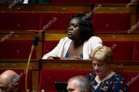 French LREM deputy Laetitia Avia during the debate at the french National Assembly about the vote of the application stop covid-19, on May 27, 2020, as France eases lockdown measures taken to curb the spread of the COVID-19 pandemic, caused by the novel coronavirus.