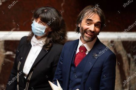 French deputy Cedric Villani next to staff of the national assembly wearing face mask during the debate at the french National Assembly about the vote of the application stop covid-19, on May 27, 2020, as France eases lockdown measures taken to curb the spread of the COVID-19 pandemic, caused by the novel coronavirus.