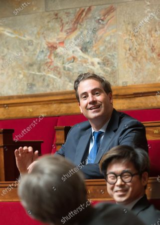 Stock Image of Olivier Becht and Joachim Son Forget during the weekly session of questions to the government at the national Assembly. Paris-FRANCE-26/05/2020