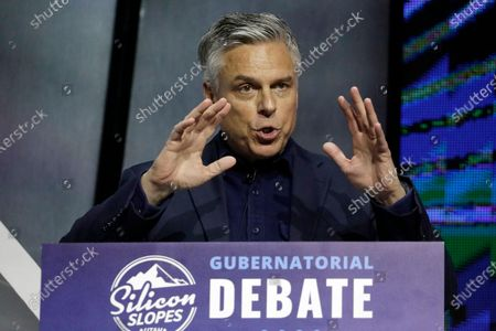 Former Russia ambassador Jon Huntsman Jr. speaks during a debate for Utah's 2020 gubernatorial race on Jan. 31, 2020, in Salt Lake City. Lt. Gov. Spencer Cox has won the Republican nomination in the Utah governor's race, giving him a heavy advantage in the conservative state's general election. The race had Huntsman trying for another term as governor against Cox, who was prominent in the state's pandemic response