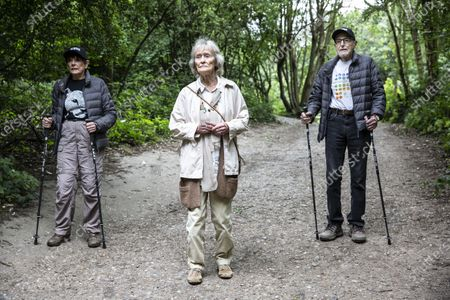 Stock Image of Virginia McKenna OBE, legendary actress and co-founder of the wildlife charity Born Free with friends including charity walkers Angela and Martin Humphrey combined age of 180 for last day of fundraising walk.