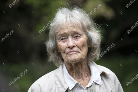 Stock Picture of Virginia McKenna OBE, legendary actress and co-founder of the wildlife charity Born Free with friends including charity walkers Angela and Martin Humphrey combined age of 180 for last day of fundraising walk.